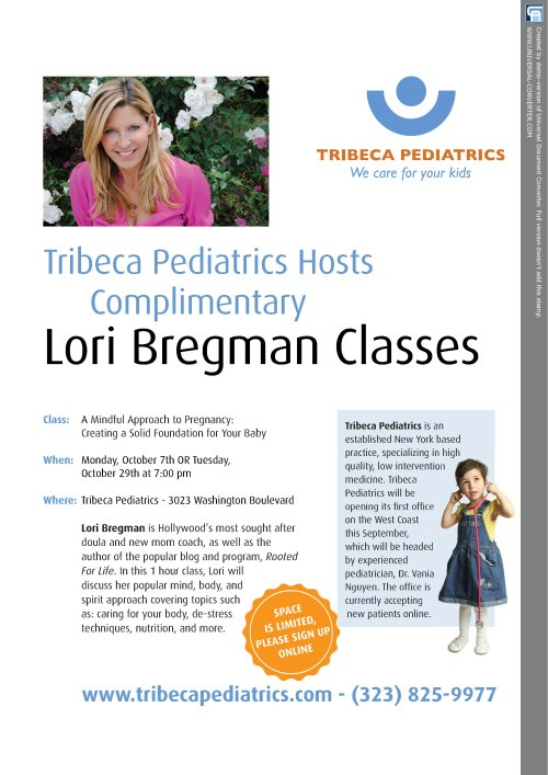 Tribeca pediatrics is opening in LA !!! WOOOOO HOOOOO !!!! I will be giving two talks in october at their new TOTALY awesome office in Venice